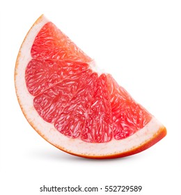 Grapefruit slice isolated on white background. With clipping path.
