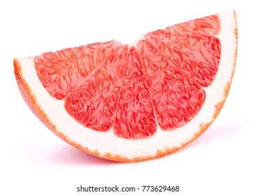 Grapefruit slice isolated on the white background with clipping path. One of the best isolated grapefruits slices that you have seen.