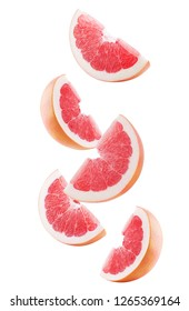 grapefruit slices isolated on a white background