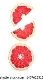 Grapefruit slices isolated on white background