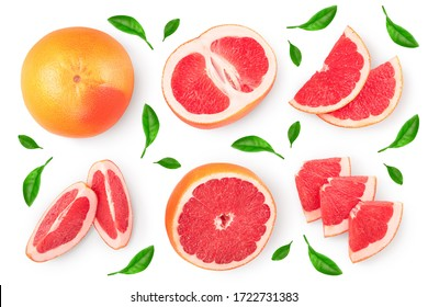 Grapefruit and slices isolated on white background. Top view. Flat lay. With clipping path and full depth of field, Set or collection