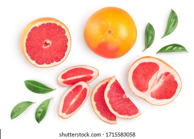 Grapefruit and slices with leaves isolated on white background. Top view. Flat lay. With clipping path and full depth of field