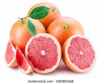 Grapefruits and grapefruit slices isolated on white background.