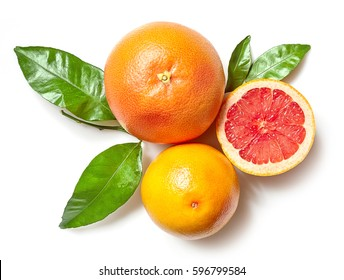 grapefruits isolated on white background, top view