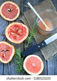 grapefruits juice on table