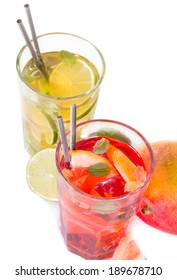 Grapefruits and lime, slice, mint ice tea isolated on white background. Summer concept. Refresh drink.
