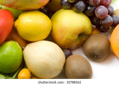 grapes and fruits on white background.