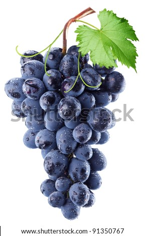 Grapes with grape leaf isolated on white background.