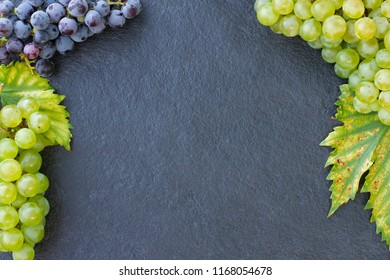 Grapes on a stone background. Flat lay