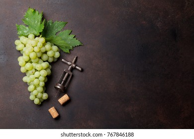 Grapes on stone background. Top view with space for your text