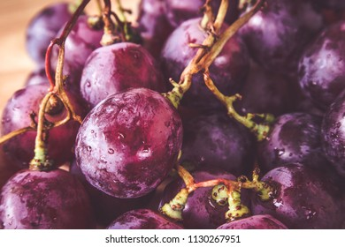 grapes on wood with filter effect retro vintage style