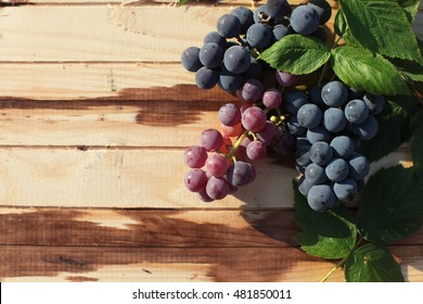 Grapes on a wooden table