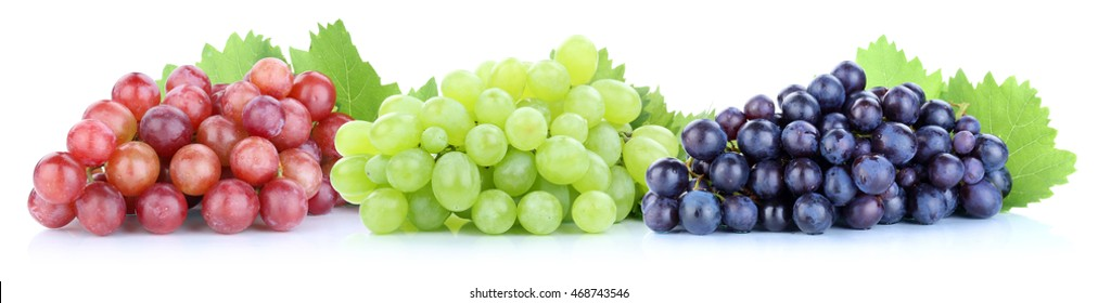 Grapes red green blue fresh fruits fruit isolated on a white background