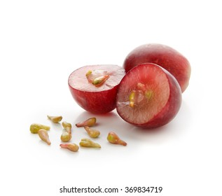 Grapes with seeds isolated on white background with clipping path. Front view.