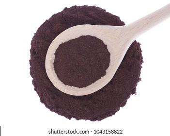 Grapes skin powder in wooden spoon