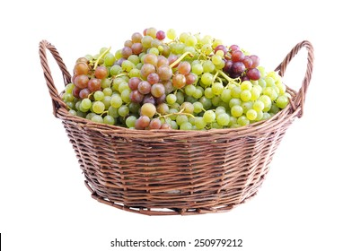 Grapes in a wicker basket. Harvest of ripe grapes. Grapes on a white background.