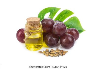 Grapeseed Oil isolated on white background.value Crammed with antioxidants and natural plant compounds or virgin cold pressed oil natural.organic cosmetic concept
