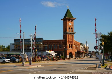 GRAPEVINE, TARRANT COUNTY, TEXAS, USA - JULY 24, 2019: Main Street in historic downtown Grapevine, Texas. Grapevine Convention and Visitors Bureau and Grapevine Vintage Railroad.