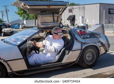 GRAPEVINE, TEXAS - May 5, 2019: A replica DeLorean time machine at the Main Street Days festival.