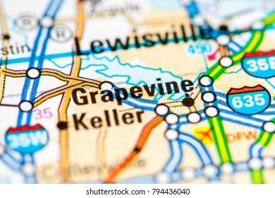 Grapevine. Texas. USA on a map