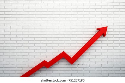 Graph Arrow of Improvement. 3D Render Illustration. White Brick Background Template