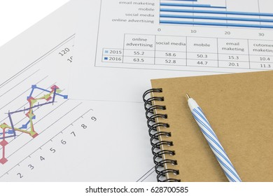 Graph chart and notebook with pen - Business concept
