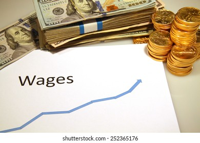 graph chart rising up wages with gold and money