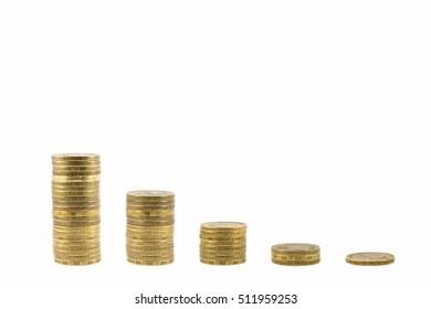 Graph of coins falling. Economic crisis