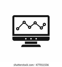 Graph in computer screen icon in simple style isolated on white background