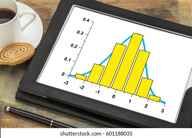 graph of data histogram  and curve with Gaussian distribution on a digital tablet with a cup of coffee