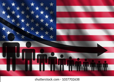 Graph decline of the population on the background of the flag Of USA, United states of america.