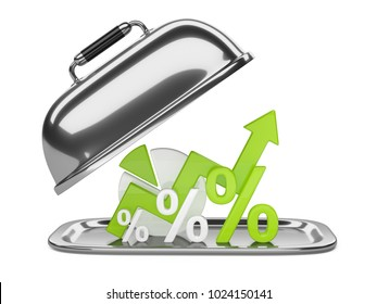 Graph, diagram and green percent signs on a square restaurant cloche with open lid. Business concept of success of development on the tray. 3d illustration isolated over white background.