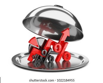 Graph, diagram and percent signs on a restaurant cloche with open lid. Business concept of success of development on the tray. 3d illustration isolated over white background.