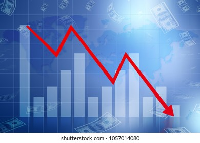 Graph down income arrow. Abstract, 2d Illustration