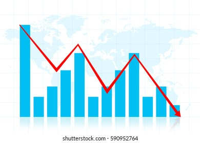Graph down income arrow. Abstract, 2d Illustration, background