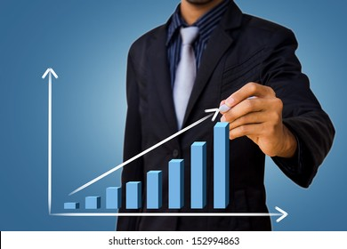 graph drawing by businessman