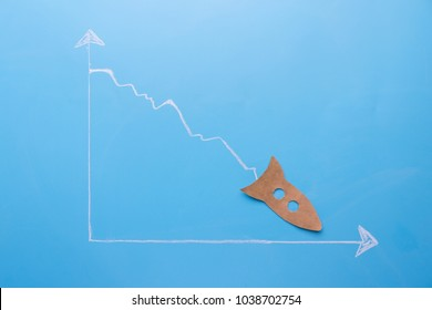 graph going down with rocket or plane fall