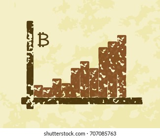 The graph of growth of bitcoin. Cryptocurrency illustration. E-business concept.