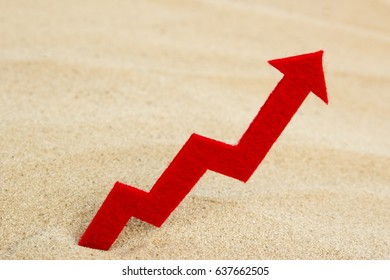 A graph of the growth of red color on the sand with an empty space for text