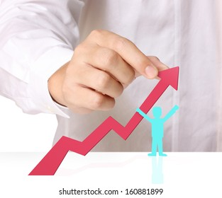 Graph in the hand, businessmen