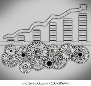 Graph icon and tooth wheel mechanism with BUSINESS PLAN concept related words imprinted on metal surface