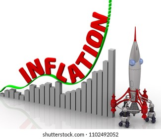 The graph of inflation growth. Graph of rapid growth with red word INFLATION (It's a general increase in prices and fall in the purchasing value of money) and rocket. 3D Illustration