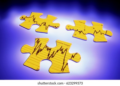 Graph Jigsaw Puzzle Pieces with Blue Background