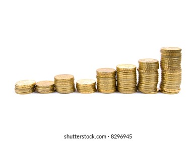 Graph made using coins descrbing growth