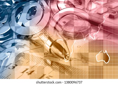 Graph, map and pen - abstract business background.