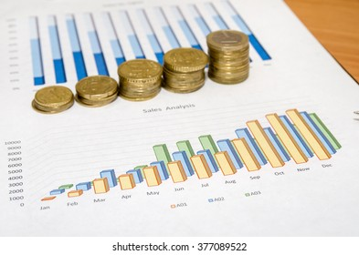 Graph and money coins on the table