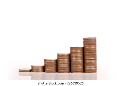 graph money coins stock finance and business concept