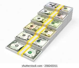 Graph from packs of different dollar bills isolated on white background