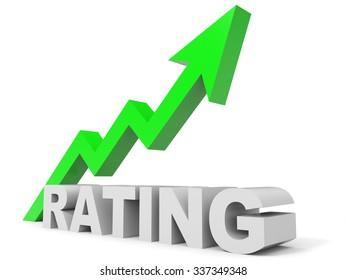 Graph up rating arrow. 3D illustration.
