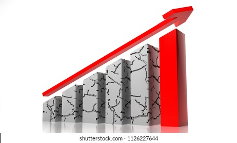 Graph red arrow on white background